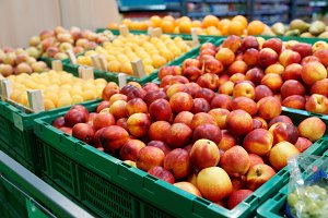 Peaches and apricots in supermarket