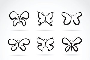 Group of hand drawn butterfly.