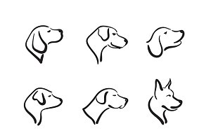 Vector group of hand drawn dog head.