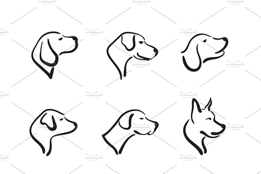 Vector Group Of Hand Drawn Dog Head