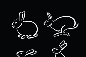 Vector group of hand drawn rabbit.