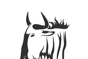 Vector of a wildebeest head.