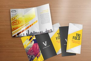 Realistic Trifold Brochure Mockups