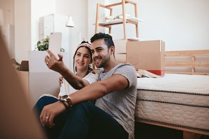 Couple moving in new home