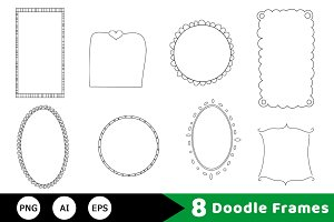 8 Doodle Frames Hand Drawn Clipart