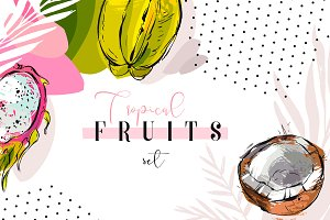 Tropical fruits set