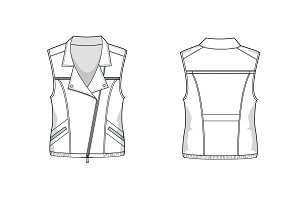 Biker Vest Fashion Flat Template
