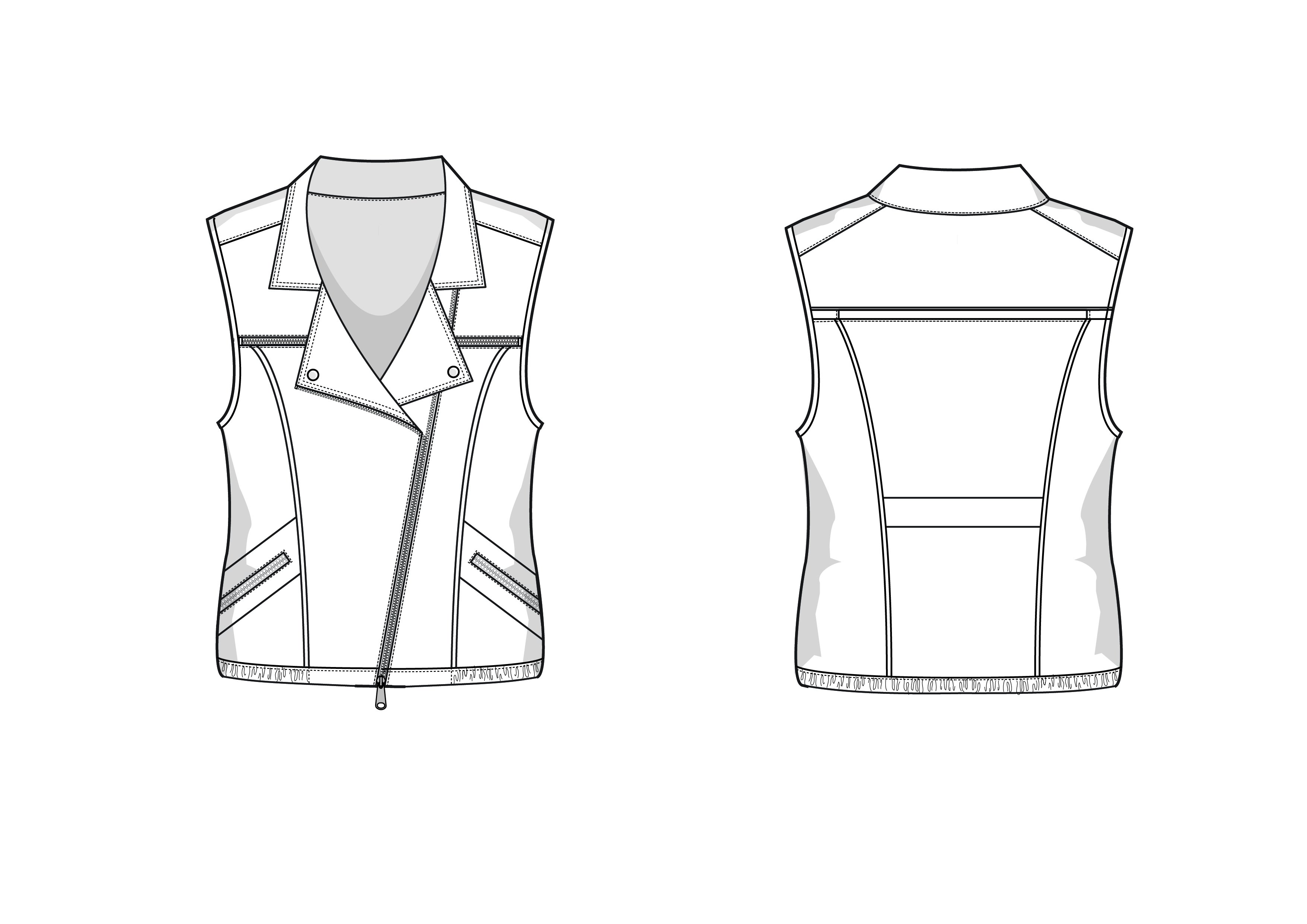 Biker Vest Fashion Flat Template ~ Templates ~ Creative Market