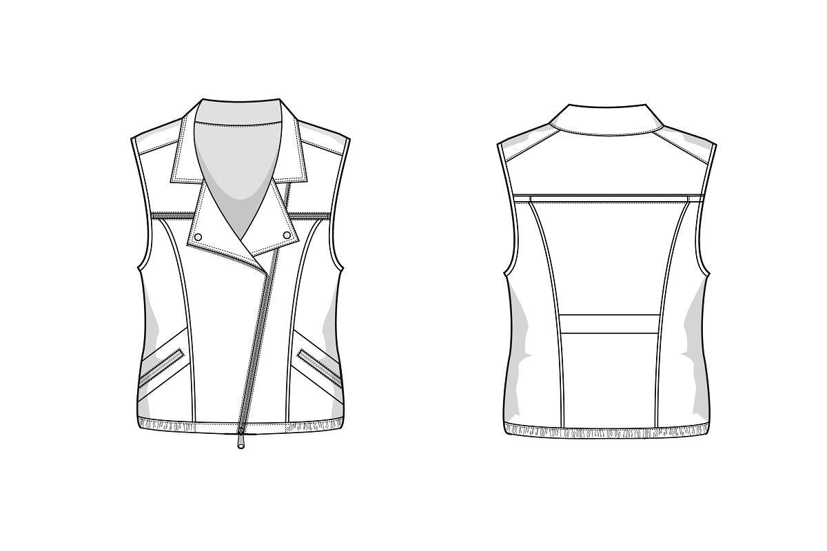 Biker Vest Fashion Flat Template Templates Creative Market