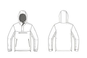 Anorak Jacket Fashion Flat Template