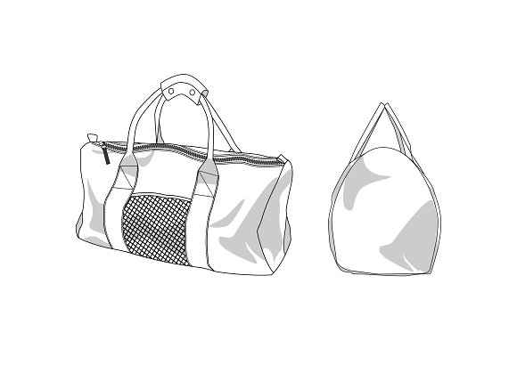 Duffle Bag Fashion Flat Template Templates Creative Market