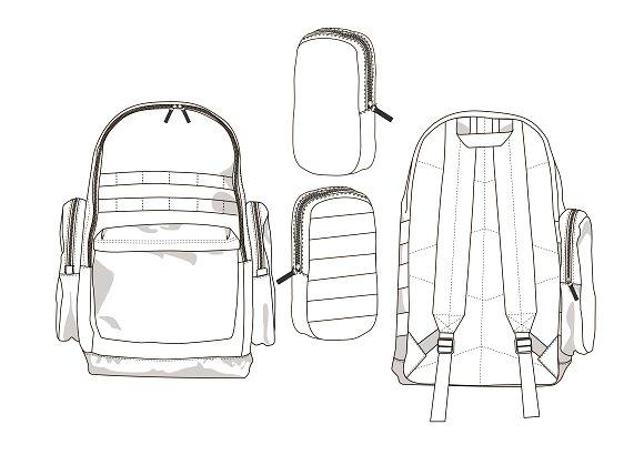 backpack fashion flat template templates creative market. Black Bedroom Furniture Sets. Home Design Ideas