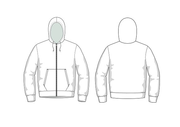 hoodie fashion flat template templates creative market