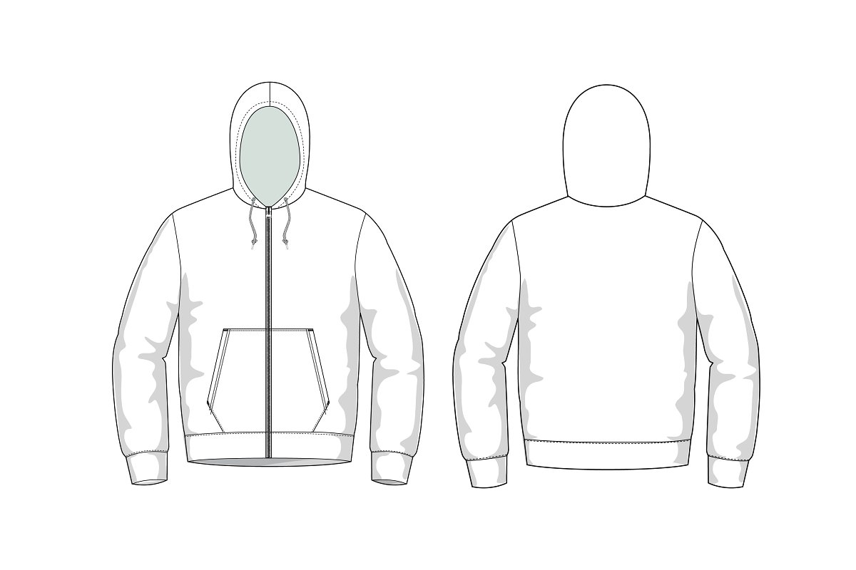 add000bd1 Hoodie Fashion Flat Template ~ Templates ~ Creative Market