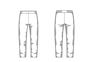 Sport Pants Fashion Flat Template