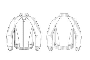 Bomber Jacket Fashion Flat Template