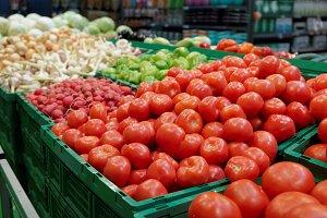 Vegetables in plastic crates