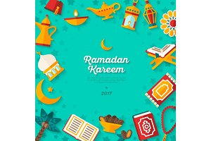 Ramadan Kareem concept banner on blue