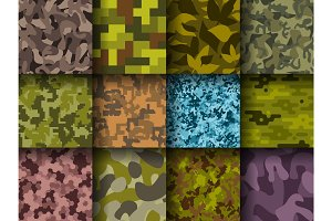 Military or hunting clothes camouflage hand drawn seamless pattern abstract fill background vector illustration.