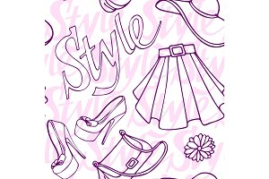 Fashion vogue seamless pattern vintage doodle hand drawn clothes and accessory vector illustration.