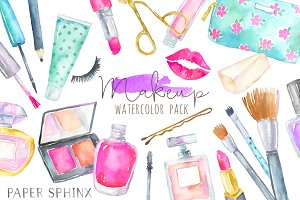 Watercolor Makeup Cosmetics Clipart