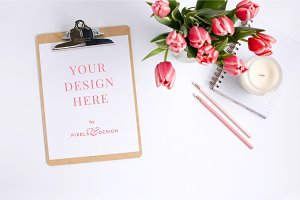 Clipboard Mockup with Pink Tulips