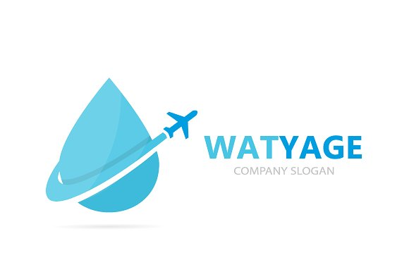 Vector Of Oil And Airplane Logo Combination Drop And Travel Symbol Or Icon Unique Flight Water And Aqua Logotype Design Template