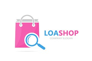 Vector of shop and loupe logo combination. Sale and magnifying glass symbol or icon. Unique bag and search logotype design template.