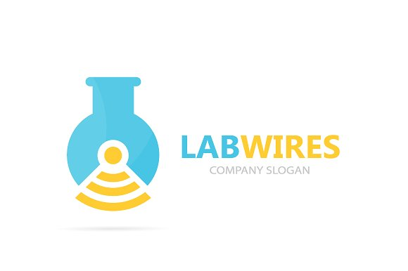 Vector Of Flask And Wifi Logo Combination Laboratory And Signal Symbol Or Icon Unique Bottle And Radio Logotype Design Template