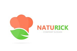 Vector of chef and leaf logo combination. Kitchen and eco symbol or icon. Unique organic cook and restaurant logotype design template.