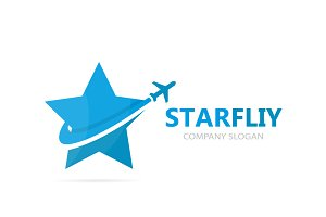 Vector of star and airplane logo combination. Unique leader and travel logotype design template.