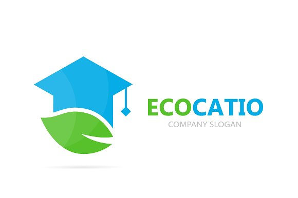 Vector Of Graduate Hat And Leaf Logo Combination Study And Eco Symbol Or Icon Unique Organic College Logotype Design Template