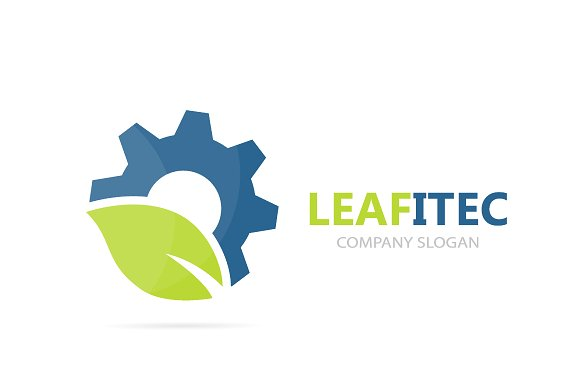 Vector Of Gear And Leaf Logo Combination Mechanic And Eco Symbol Or Icon Unique Organic Factory And Industrial Logotype Design Template