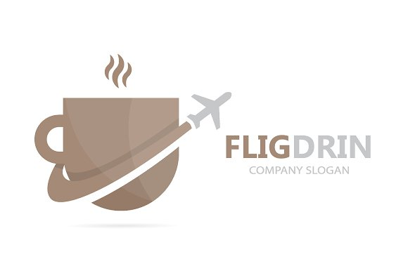 Vector Of Coffee And Airplane Logo Combination Drink And Travel Symbol Or Icon Unique Cup And Flight Logotype Design Template