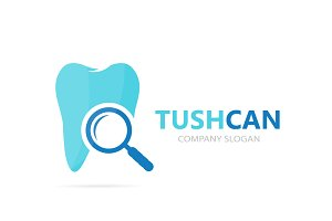 Vector of tooth and loupe logo combination. Dental and magnifying glass symbol or icon. Unique clinic and search logotype design template.
