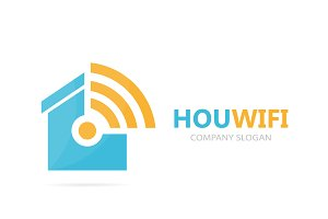Vector of real estate and wifi logo combination. House and signal symbol or icon. Unique rent and radio, internet logotype design template.