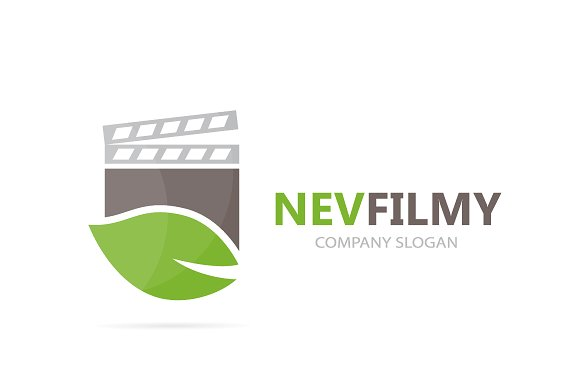 Vector Of Clapperboard And Leaf Logo Combination Cinema And Eco Symbol Or Icon Unique Organic And Video Logotype Design Template