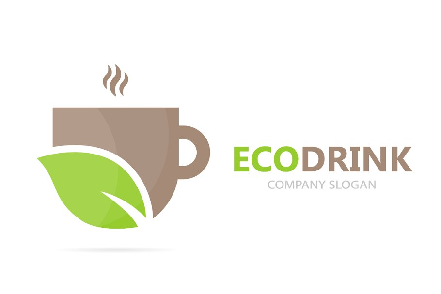 Vector of coffee and leaf logo combination  Drink and eco symbol or icon   Unique organic cup and tea logotype design template