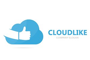 Vector of cloud and like logo combination. Storage and best logotype design template.