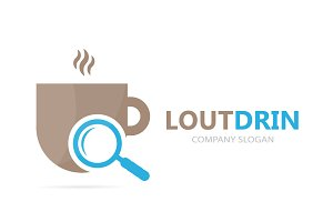Vector of coffee and loupe logo combination. Drink and magnifying glass symbol or icon. Unique cup and search logotype design template.