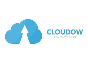 Vector of arrow up and cloud logo combination. Growth and storage symbol or icon. Unique download and upload logotype design template.