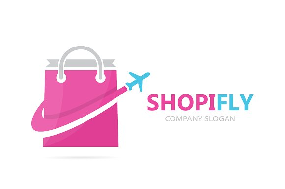 Vector Of Shop And Plane Logo Combination Sale And Travel Symbol Or Icon Unique Bag And Flight Logotype Design Template