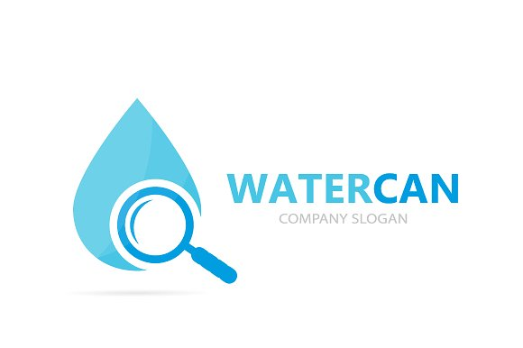 Vector Of Oil And Loupe Logo Combination Drop And Magnifying Glass Symbol Or Icon Unique Water Aqua And Search Logotype Design Template