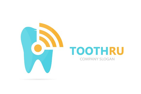 Vector Of Tooth And Wifi Logo Combination Dental And Signal Symbol Or Icon Unique Clinic And Radio Internet Logotype Design Template