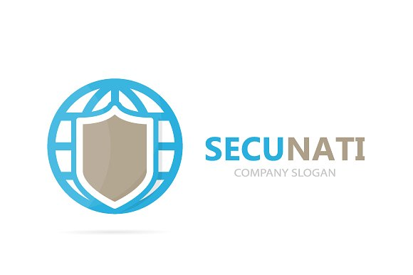 Vector Of Shield And Planet Logo Combination Security And World Symbol Or Icon Unique Protect And Globe Logotype Design Template