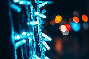 Beautiful city lights on Christmas