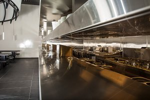 Professional kitchen, view counter in steel