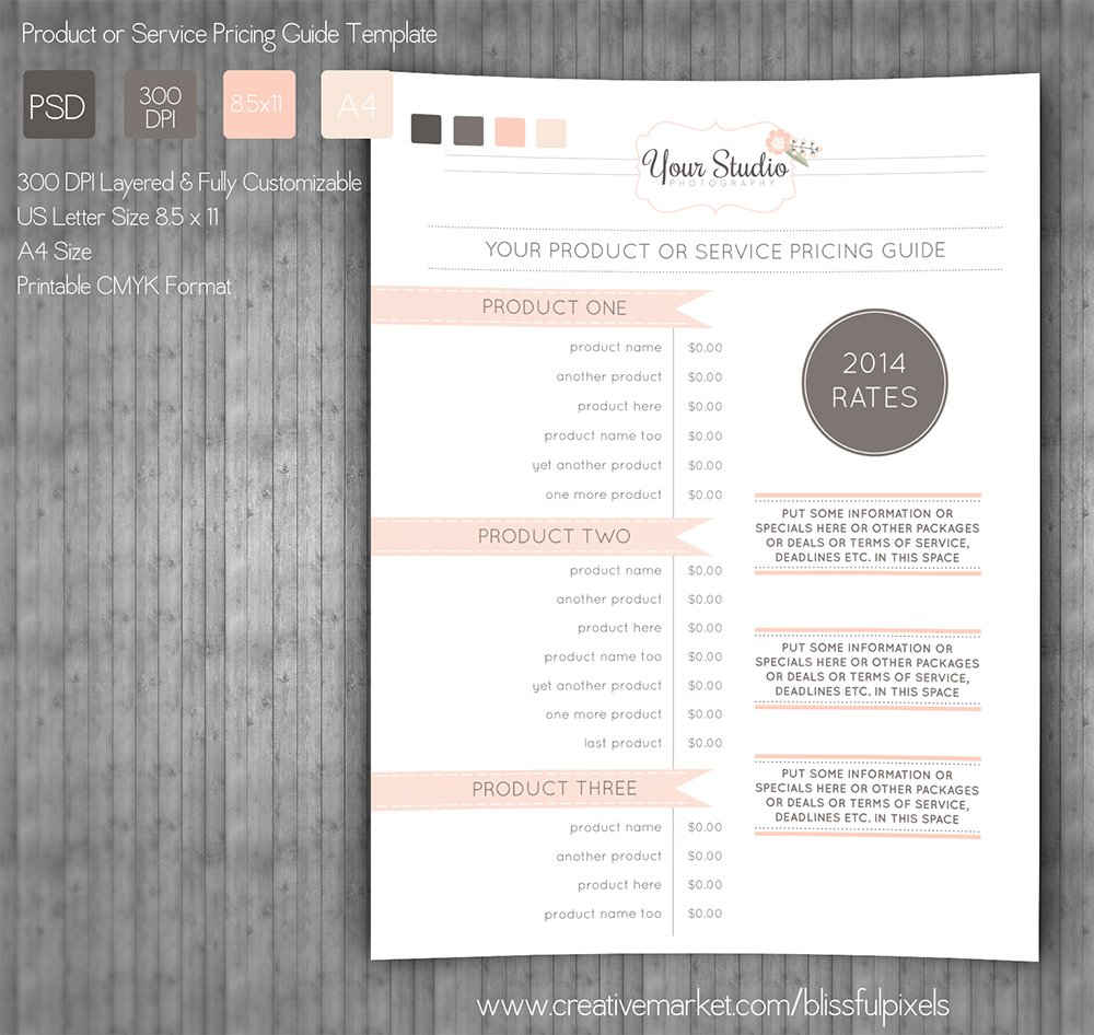 Pricing Guide Template ~ Stationery Templates ~ Creative ...