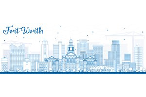 Outline Fort Worth Skyline
