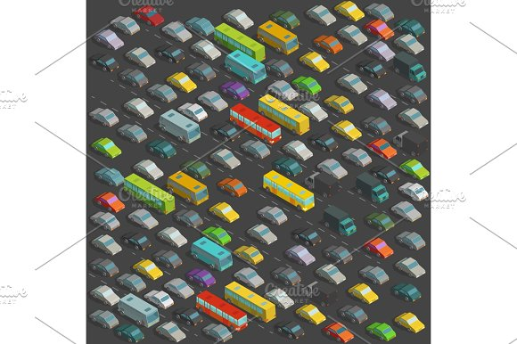 City Horrendous Traffic Jams Isometric Projection View A Lot Of Many Cars Vector Illustration On Background